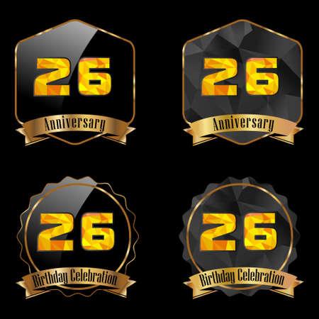 26th: 26 year birthday celebration golden label, 26th anniversary decorative polygon golden emblem