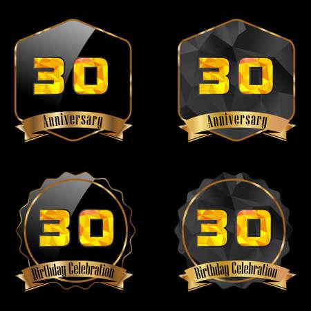 30th: 30 year birthday celebration golden label, 30th anniversary decorative polygon golden emblem Illustration