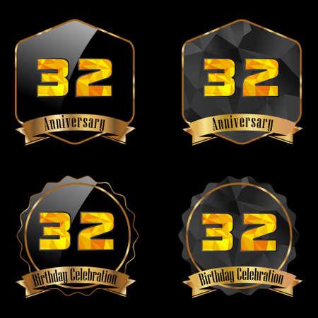 32: 32 year birthday celebration golden label, 32nd anniversary decorative polygon golden emblem