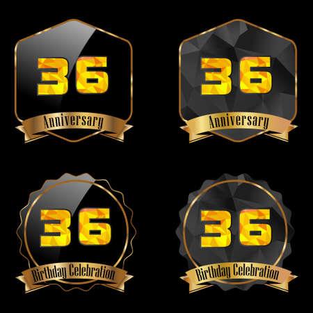 number 36: 36 year birthday celebration golden label, 36th anniversary decorative polygon golden emblem