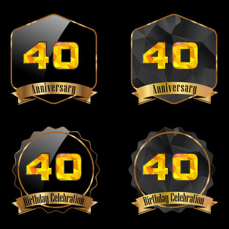 40th: 40 year birthday celebration golden label, 40th anniversary decorative polygon golden emblem