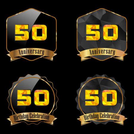 50th: 50 year birthday celebration golden label, 50th anniversary decorative polygon golden emblem Illustration