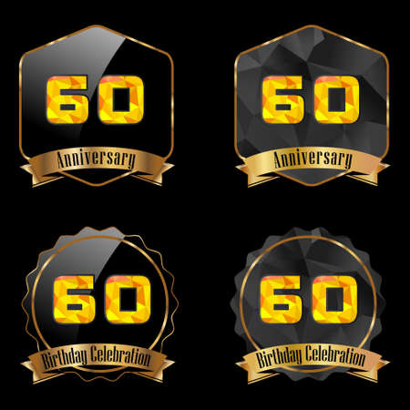 60th: 60 year birthday celebration golden label, 60th anniversary decorative polygon golden emblem - vector illustration eps10