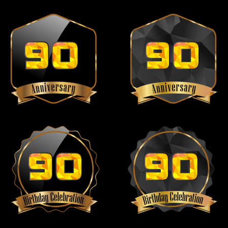 90th: 90 year birthday celebration golden label, 90th anniversary decorative polygon golden emblem - vector illustration eps10
