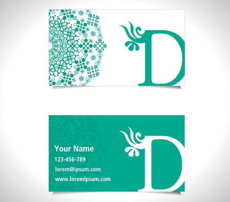 d: Business card with alphabet letter D, creative D letter logo concept - vector eps10