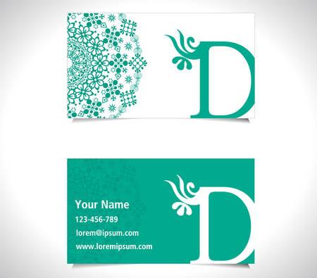 d: Business card with alphabet letter D, creative D letter logo concept - vector eps10
