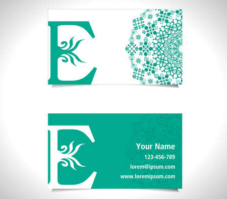 e card: Business card with alphabet letter E, creative E letter logo concept - vector eps10
