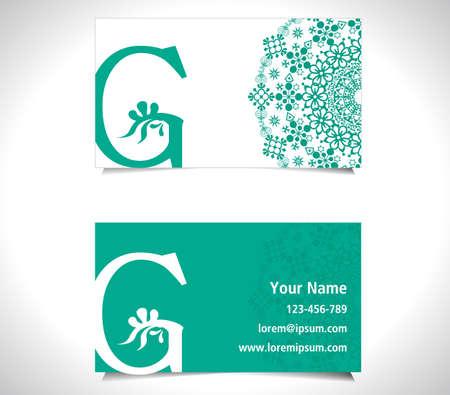 letter g: Business card with alphabet letter G, creative G letter logo concept - vector eps10 Illustration