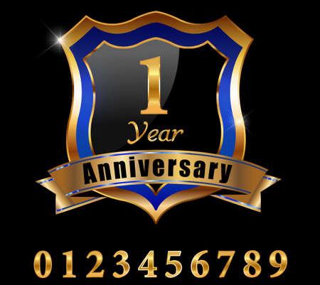 1 year anniversary: 1 year anniversary golden label, 1st anniversary emblem