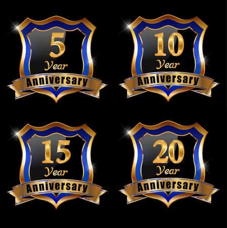 ten years jubilee: set of anniversary elements, 30 year anniversary badge