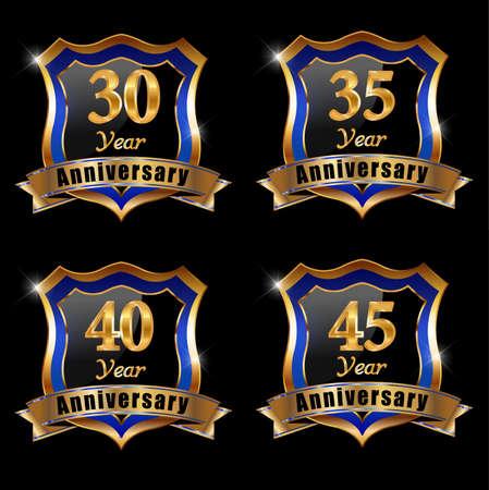 40 45 years: set of anniversary elements, 30 year anniversary badge