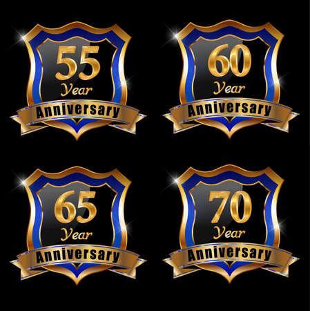 65 70 years: set of anniversary elements, 60 year anniversary badge