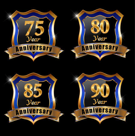 75 80: set of anniversary elements, 80 year anniversary badge Illustration