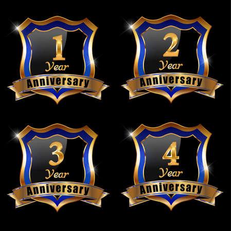1 year anniversary: set of anniversary elements, 1 year anniversary badge Illustration