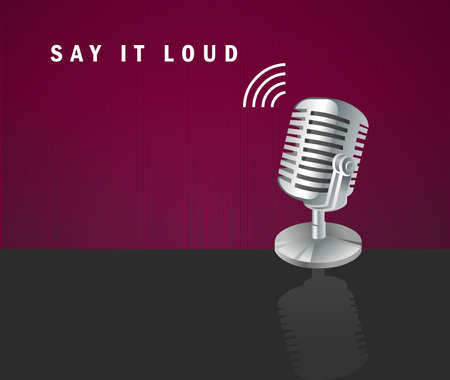 decibels: Say it loud, microphone icon on a dark background design concept Illustration