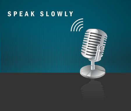 slowly: Habla despacio, icono del micrófono en un fondo oscuro diseño de concepto-