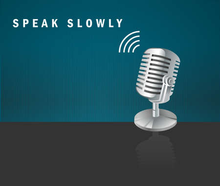 Speak Slowly, microphone icon on a dark background design concept- Vector