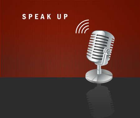Speak Up, microphone icon on a dark background design concept Vector