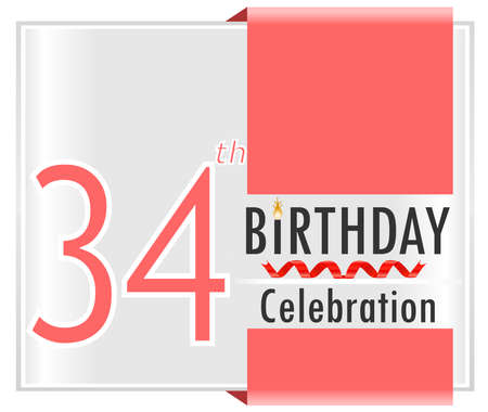 34: 34 birthday celebration card with vibrant colors and ribbon - vector illustration