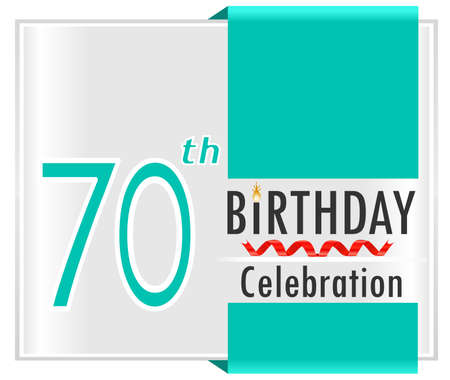 70 80 years: 70 birthday celebration card with vibrant colors and ribbon - vector illustration
