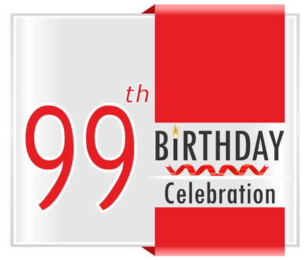 99: 99 birthday celebration card with vibrant colors and ribbon - vector illustration
