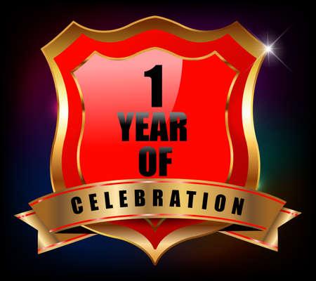 sheild: 1 years anniversary golden celebration label badge - vector eps10 Illustration