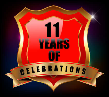 sheild: 11 years anniversary golden celebration label badge - vector eps10