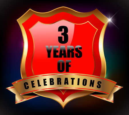 sheild: 3 years anniversary golden celebration label badge - vector eps10