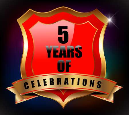 sheild: 5 years anniversary golden celebration label badge - vector eps10