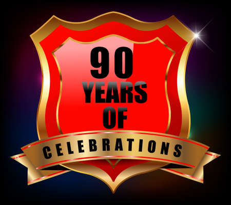 90th: 90 years anniversary golden celebration label badge - vector eps10