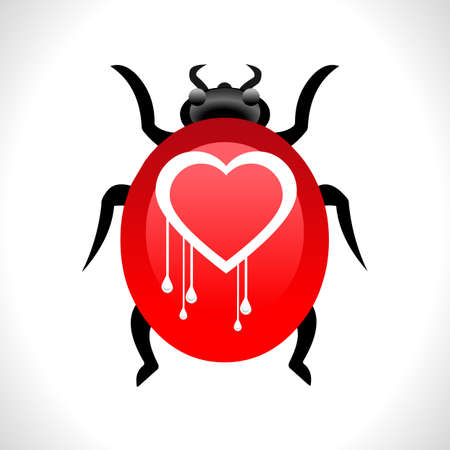 bleed: Heartbleed openssl bug virus heart bleed bug concept- vector eps10 Illustration