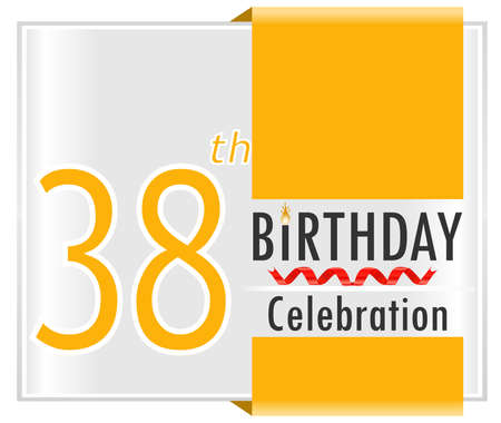 38 birthday celebration card with vibrant colors and ribbon - vector illustration