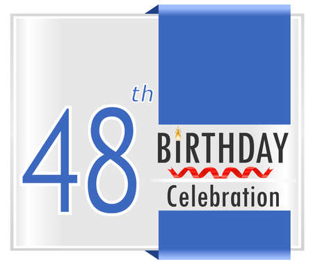 48: 48 birthday celebration card with vibrant colors and ribbon - vector illustration