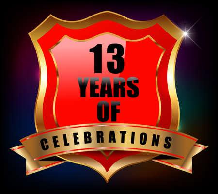 13th: 13 years anniversary golden celebration label badge - vector eps10