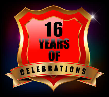 16 years: 16 years anniversary golden celebration label badge - vector eps10