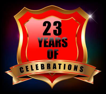 sheild: 23 years anniversary golden celebration label badge - vector eps10 Illustration