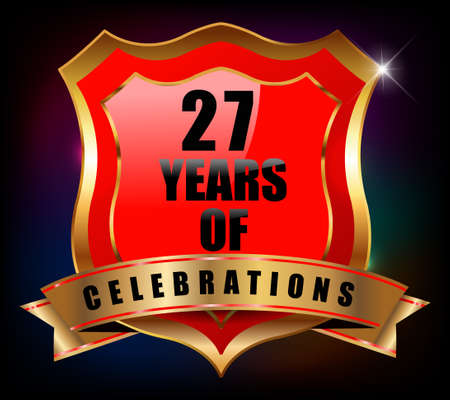 sheild: 27 years anniversary golden celebration label badge - vector eps10 Illustration