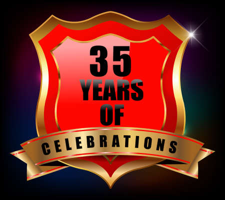sheild: 35 years anniversary golden celebration label badge - vector eps10