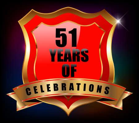 sheild: 51 years anniversary golden celebration label badge - vector eps10