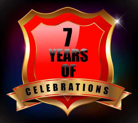 sheild: 7  years anniversary golden celebration label badge - vector eps10