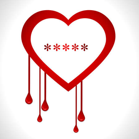 vulnerable: Heartbleed openssl bug virus bleeding heart - vector eps10 Illustration