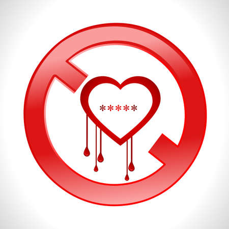 bleed: heart bleed openssl bug virus bleeding heart restricted- vector eps10