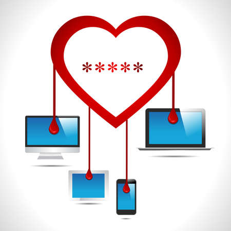 bleed: Heartbleed bug virus heart bleed bug with computer, tab, mobile, laptop virus concept- vector eps10 Illustration