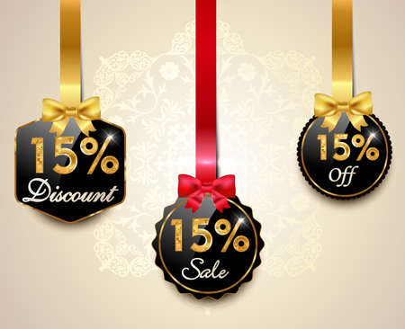 Set of 15% sale and discount golden labels with red bows and ribbons Style Sale Tags Design, 15off - vector eps10 일러스트