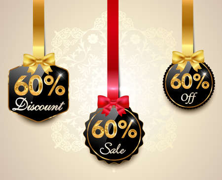 Set of 60% sale and discount golden labels with red bows and ribbons Style Sale Tags Design, 60 off - vector eps10 일러스트