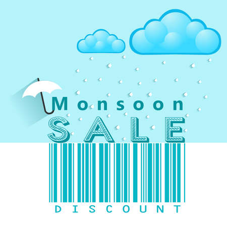 monsoon: Monsoon offer and sale banner, flyer or poster with rain and open umbrella concept