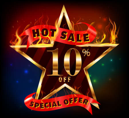 10% off, 10 sale discount hot sale with special offer and fire effect- vector EPS10 일러스트