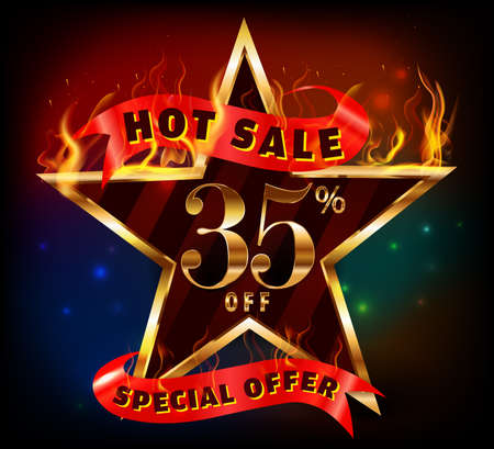 35: 35% off, 35 sale discount hot sale with special offer and fire effect- vector EPS10 Illustration