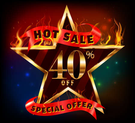 40: 40% off, 40 sale discount hot sale with special offer and fire effect- vector EPS10