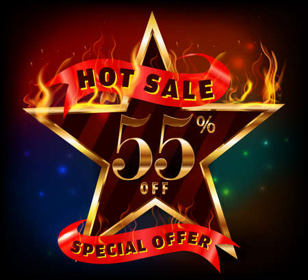 inheritance: 55% off, 55 sale discount hot sale with special offer and fire effect- vector EPS10 Illustration